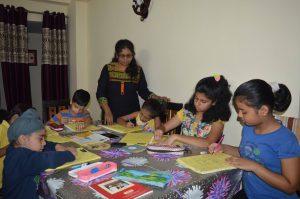 Sheetal teaching kids from home