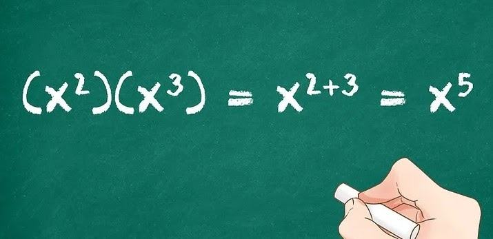 Algebraic Expression solved on green board with with chalk