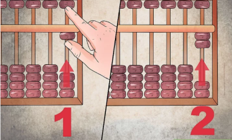Representing number 1 and 2 on Abacus