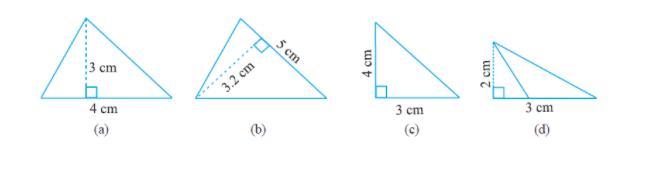 Find the area of each of the following triangles: