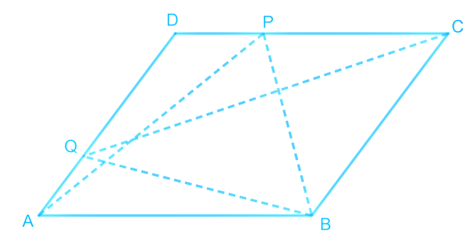 P and Q are any two points lying on the sides DC and AD respectively of a parallelogram ABCD. Show that ar (APB) = ar (BQC).