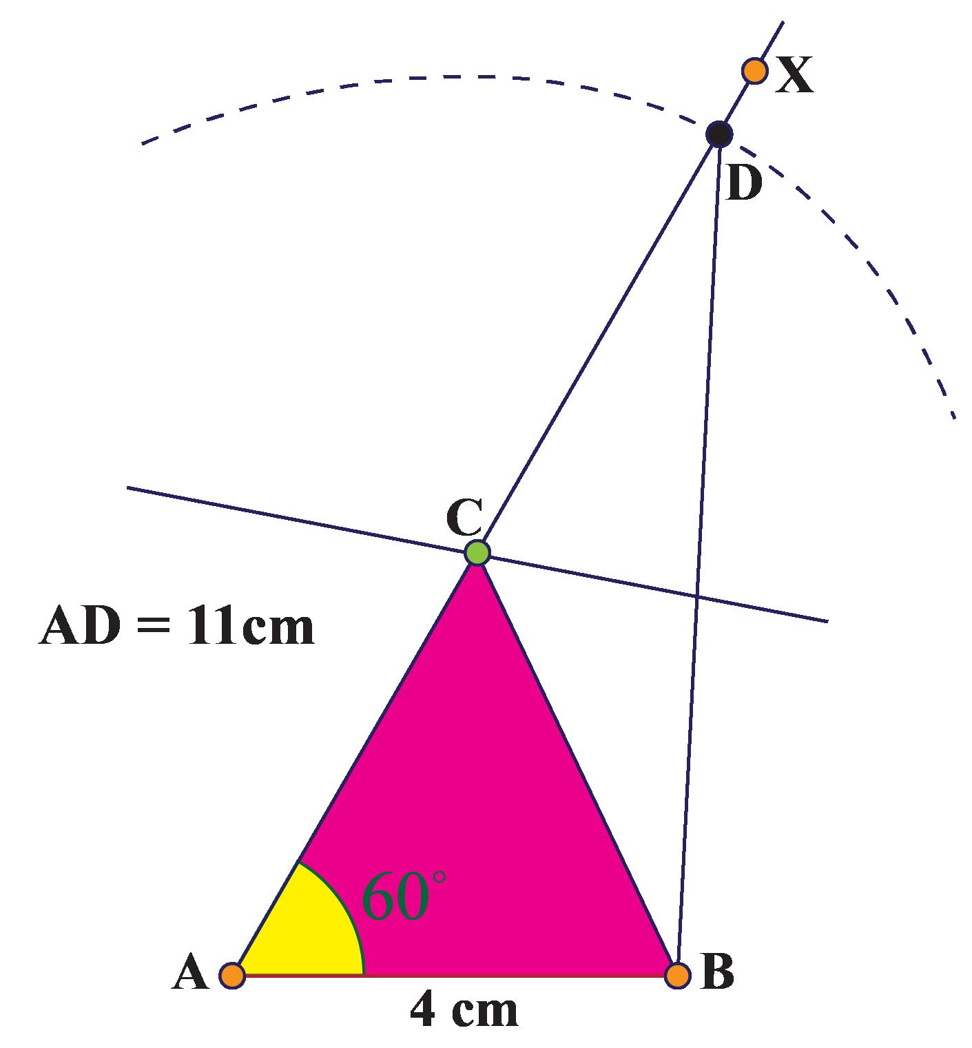 Triangle, ray, and arcs