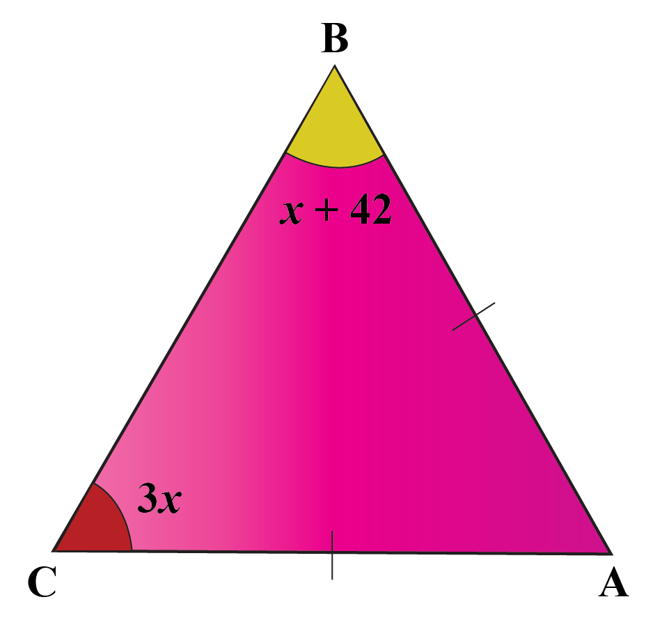 two base angles of an isosceles acute triangle are 3x and 2x plus 42. Find the vertex angle