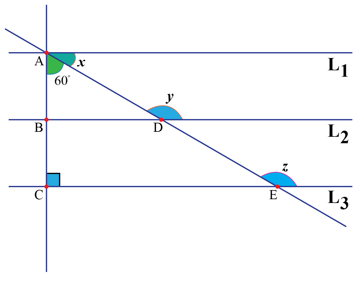 Three parallel straight lines intersecting by transversal - solved examples on transversals