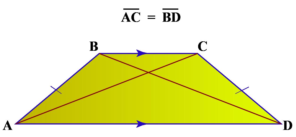 Isosceles trapezoid properties - Equal diagonals