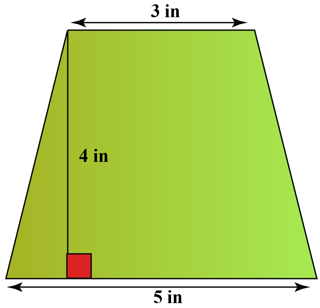 Find the area of an Isosceles trapezoid with bases 3 inch and 5 inch and height 4 inch