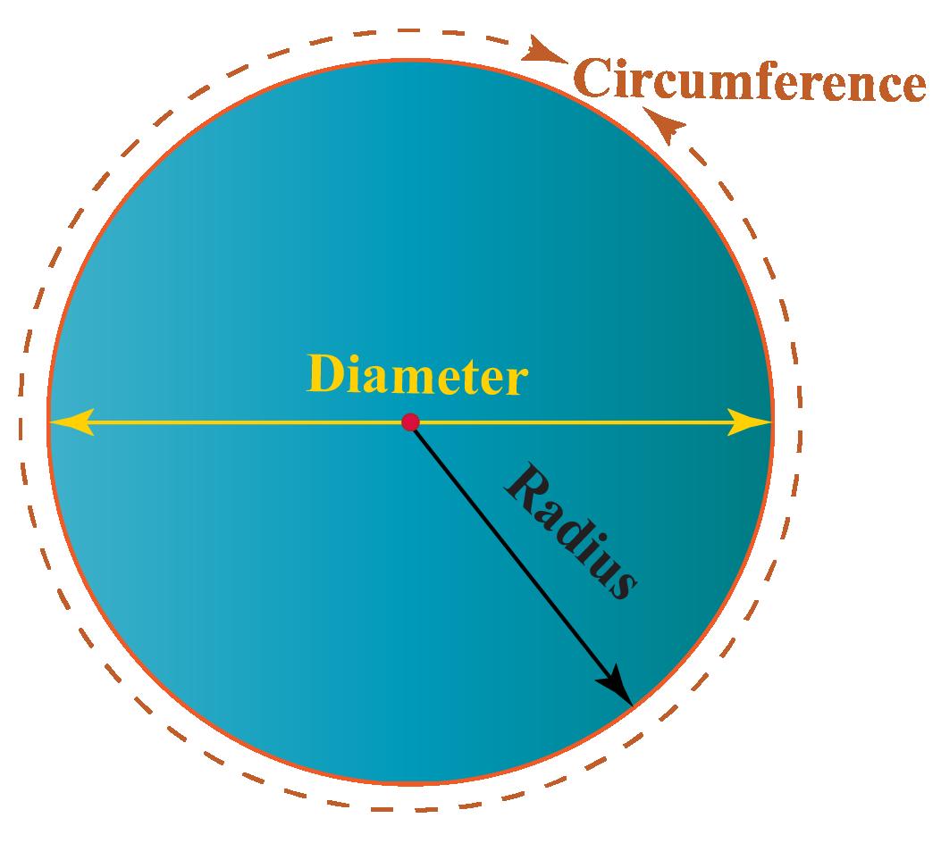 Circle marked with radius, diameter, circumference
