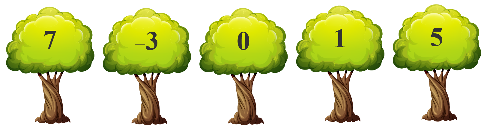 5 trees with numbers marked on them