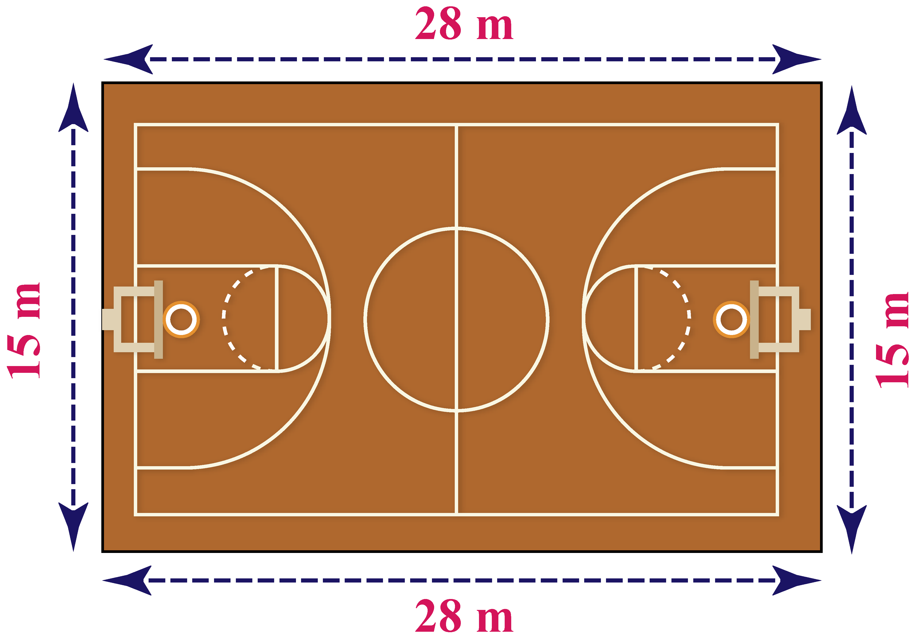 Basketball court with dimensions marked