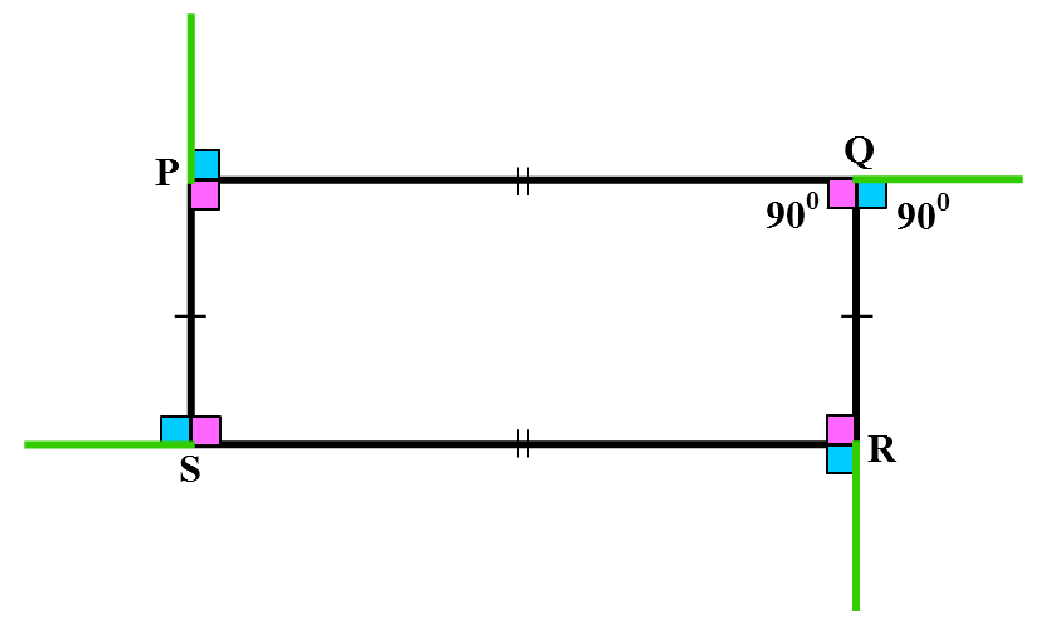Rectangle with angles shown