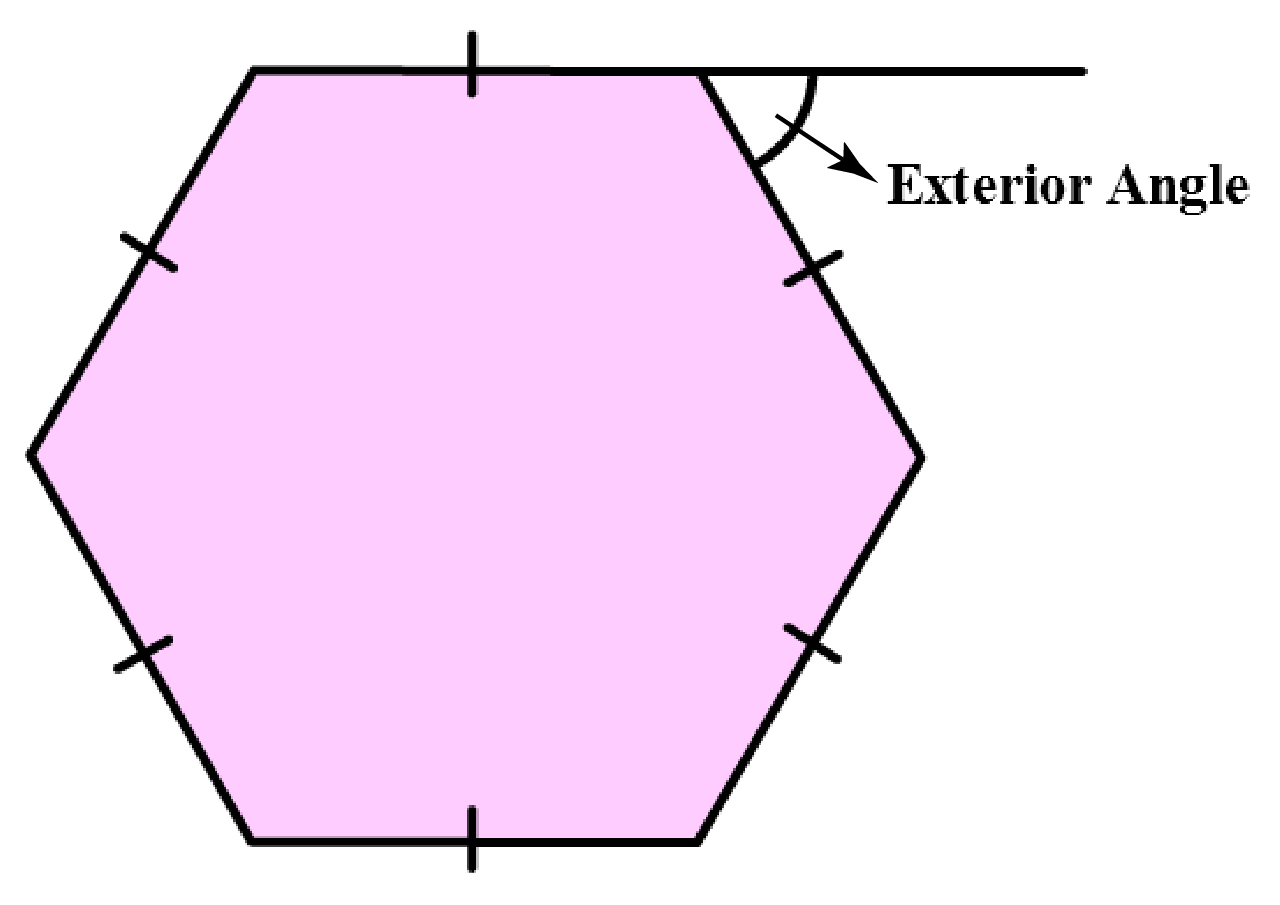 Hexagon with exterior angle marked
