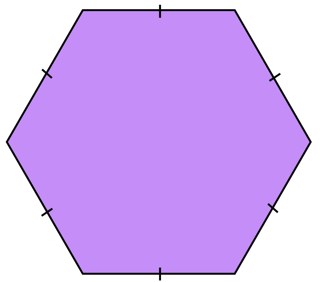 a hexagon with equal sides marked