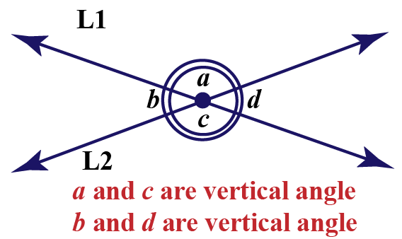 Vertical angles of line L1 and L2