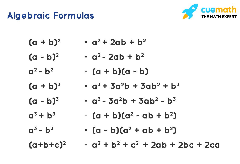 Algebraic Formulas for Class - 8