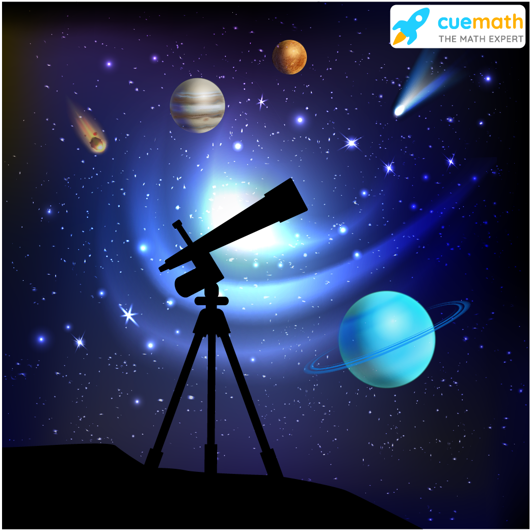A telescope with Planets and stars in the background