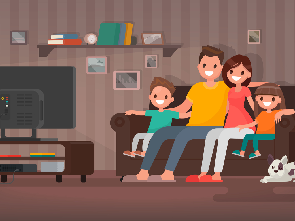 developing self-confidence: parents being friendly with their child sitting on sofa watching tv
