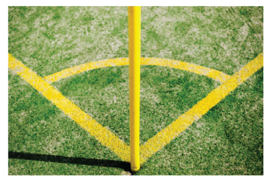 angle formed at the corner kick mark in a football game