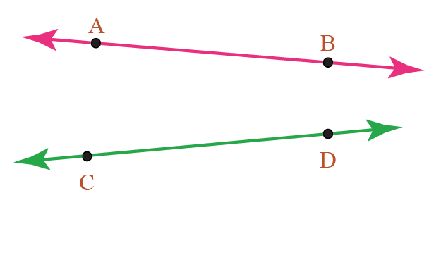 figure showing two horizontal lines AB and CD
