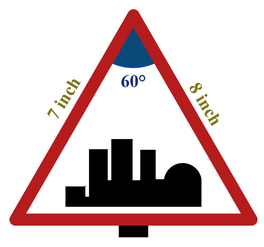 A signboard in the shape of a triangle shows measurements for two sides and an included angle.