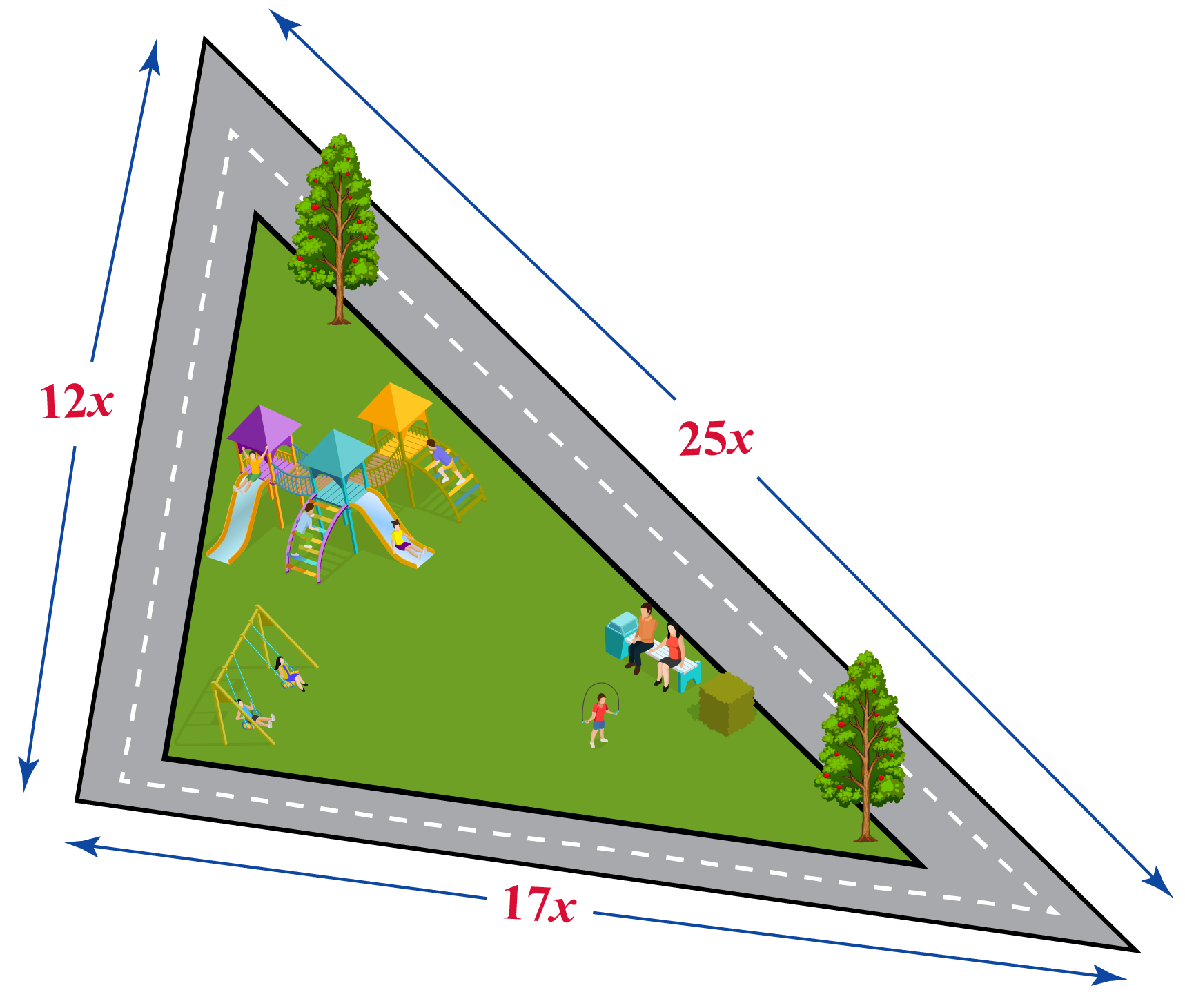 Find the area of a triangular park whose sides are in the ratio 12:17:25.