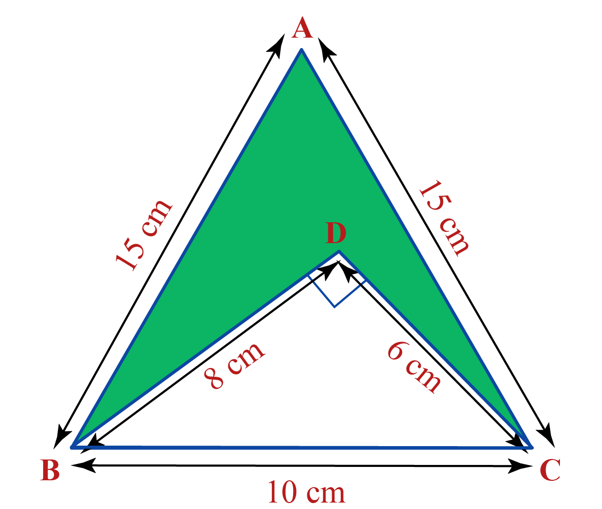 Two triangles are shown within each other. We have to find the area of the shaded region within the larger triangle.