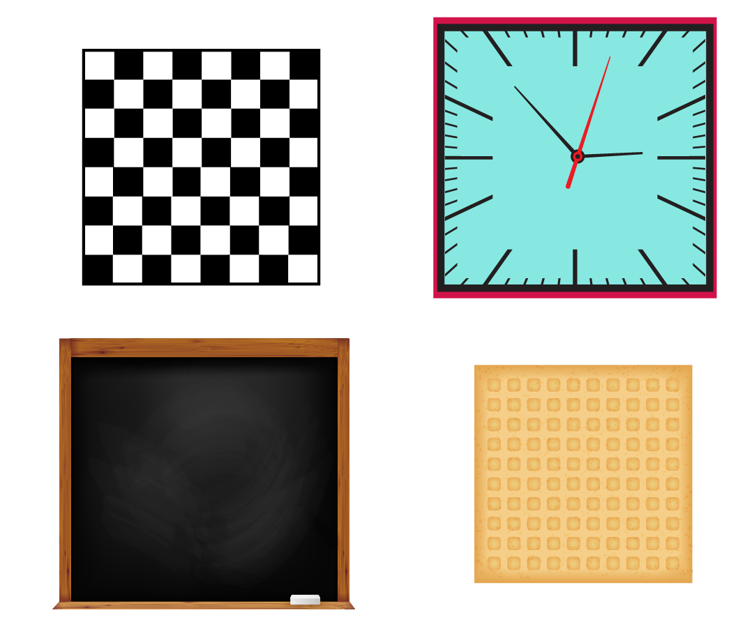 Every day objects such as a chess board, a square wall clock, a square blackboard, a square biscuit are shown as examples.