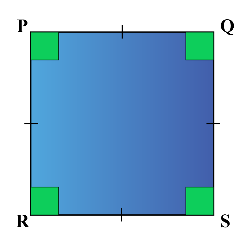 A square is a 2-dimensional shape with all 4 sides equal and all angles measuring 90 degrees.