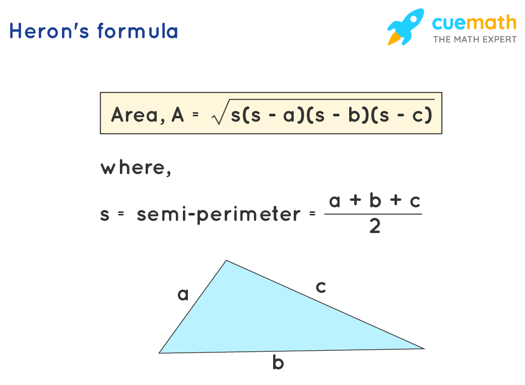 Area of triangle with 3 sides formula is called Heron's formula