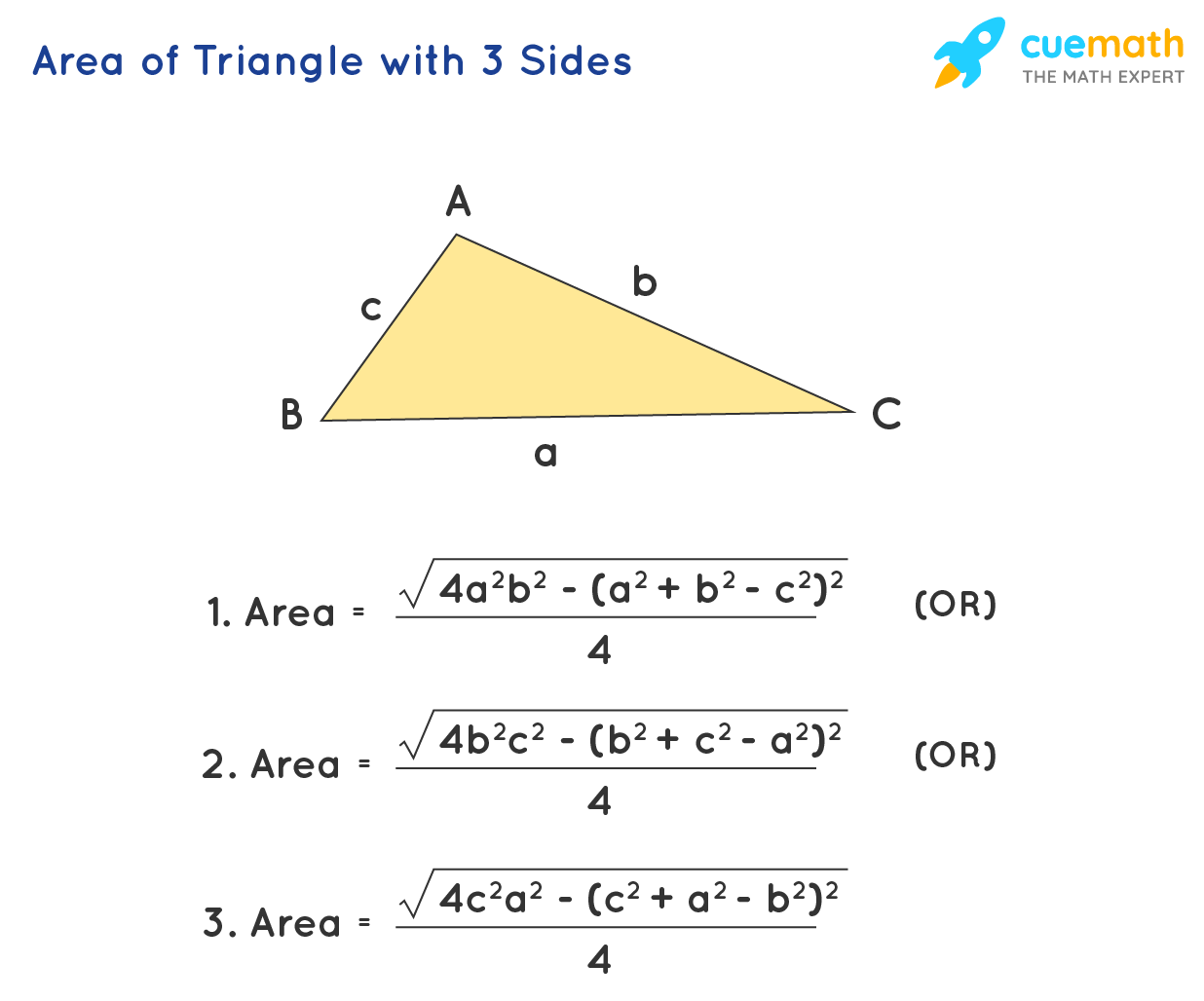 Area of triangle with 3 sides formulas