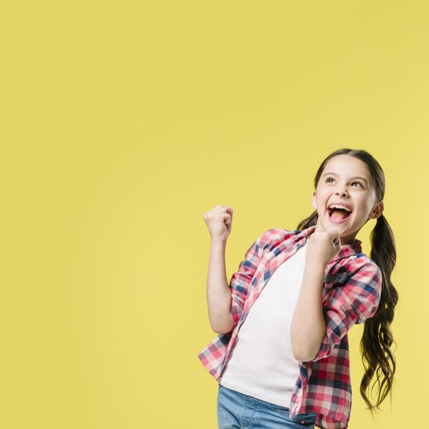 Girl celebrating wining