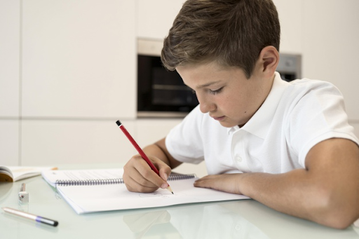 Kids completing homework on time
