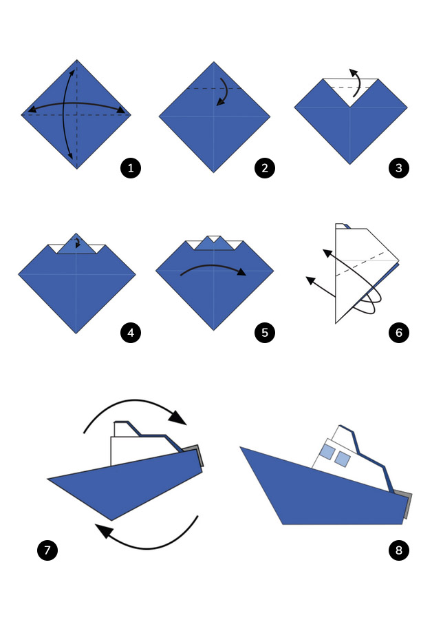 Steps to make a Boat origami