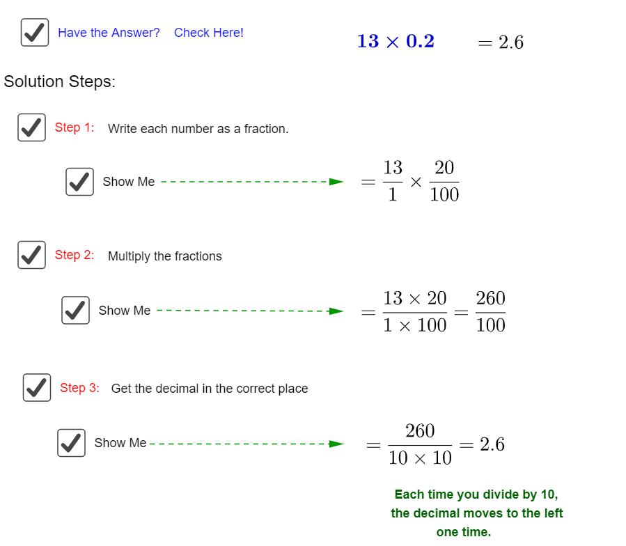 Multipication of decimals