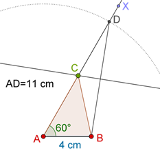 Triangle, ray and arcs