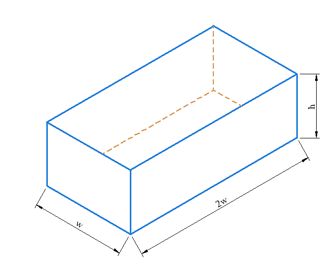 Volume of rectangular container - example 1
