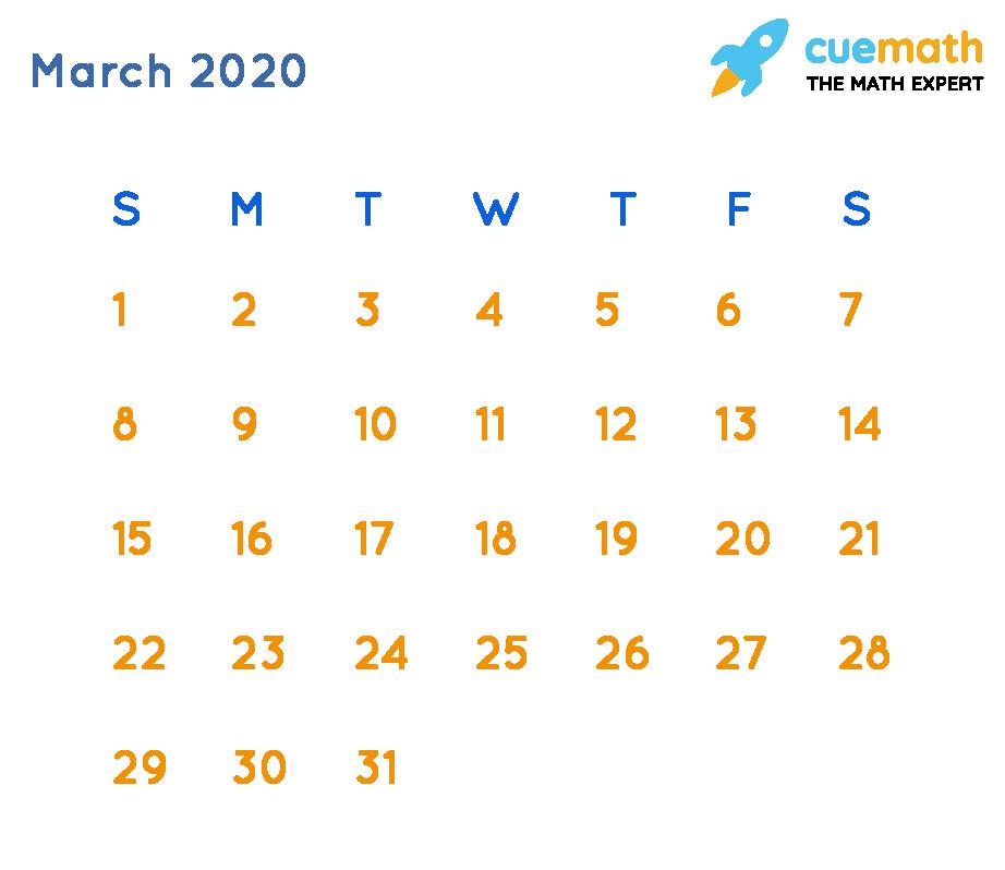 Calendar of March 2020