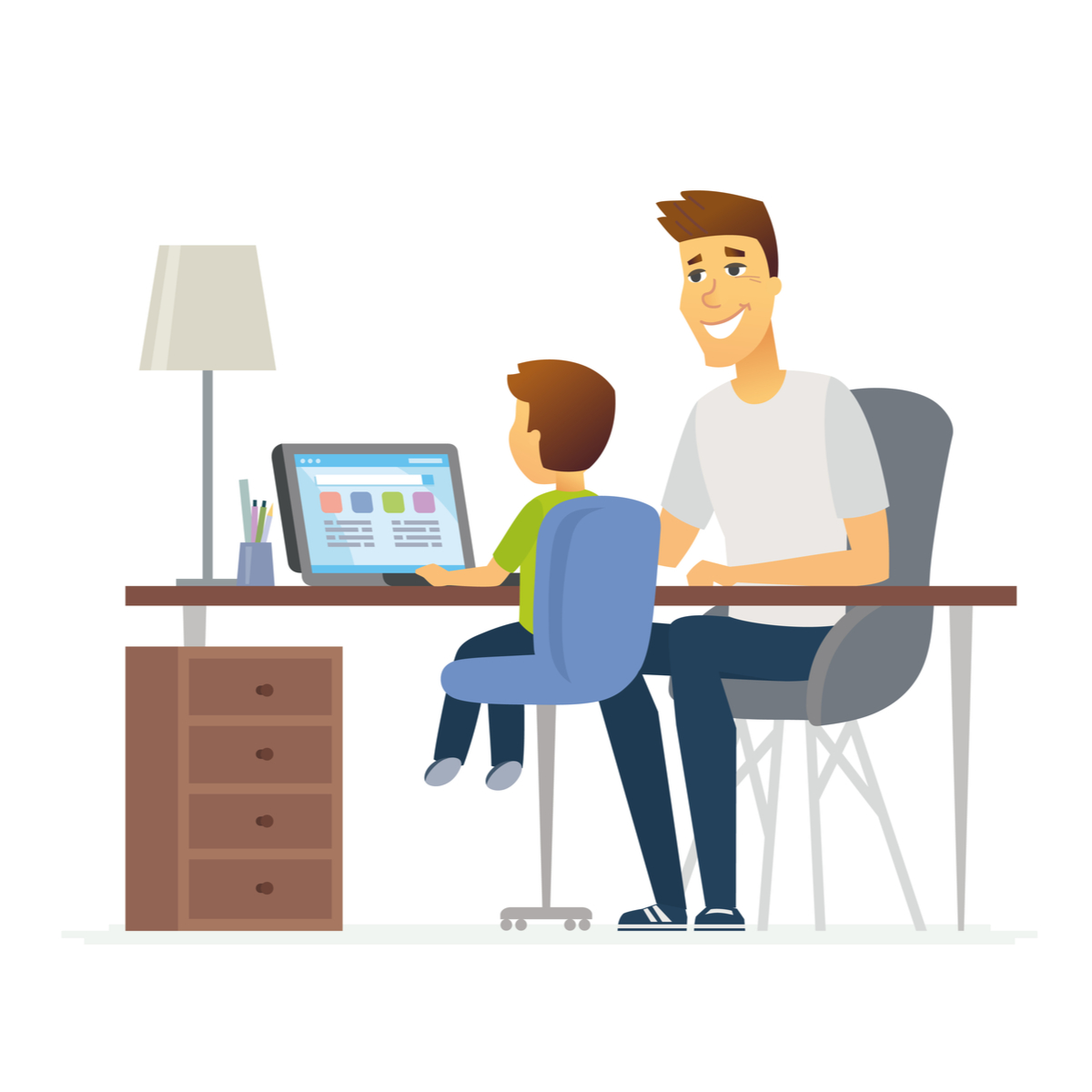 Parent solving puzzles with the child in the computer developing his self confidence