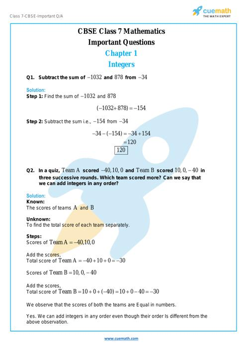 Math Important Questions Class 7 Extra Questions For Class 7 Maths Cuemath