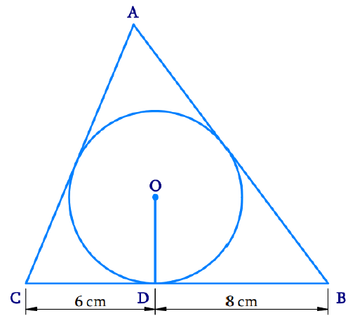 A triangle ABC is drawn to circumscribe a circle of radius 4 cm such that the segments BD and DC into which BC is divided by the point of contact D are of lengths 8 cm and 6 cm respectively (see Fig. 10.14). Find the sides AB and AC