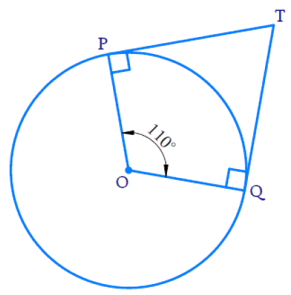 In Fig. 10.11, if TP and TQ are the two tangents to a circle with centre O so that ∠ POQ = 110°, then ∠ PTQ is equal to