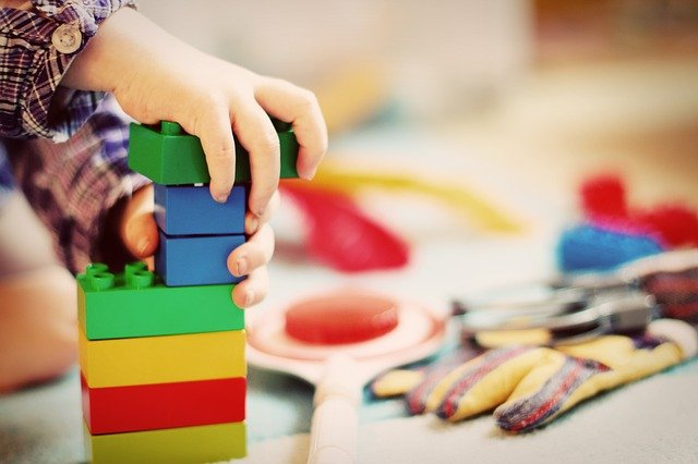 Teaching learning process: child playing to observe and learn