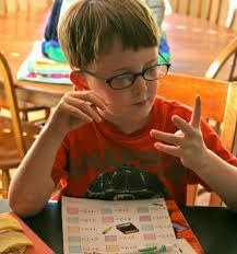 Child counting numbers