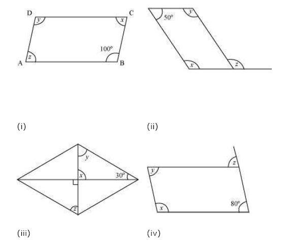Consider the following parallelograms. Find the values of the unknowns x, y, z