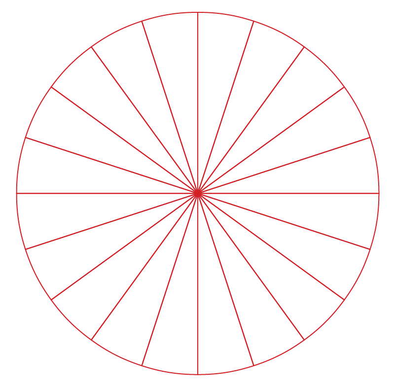 A wheel of a bicycle has the shape of a circle.