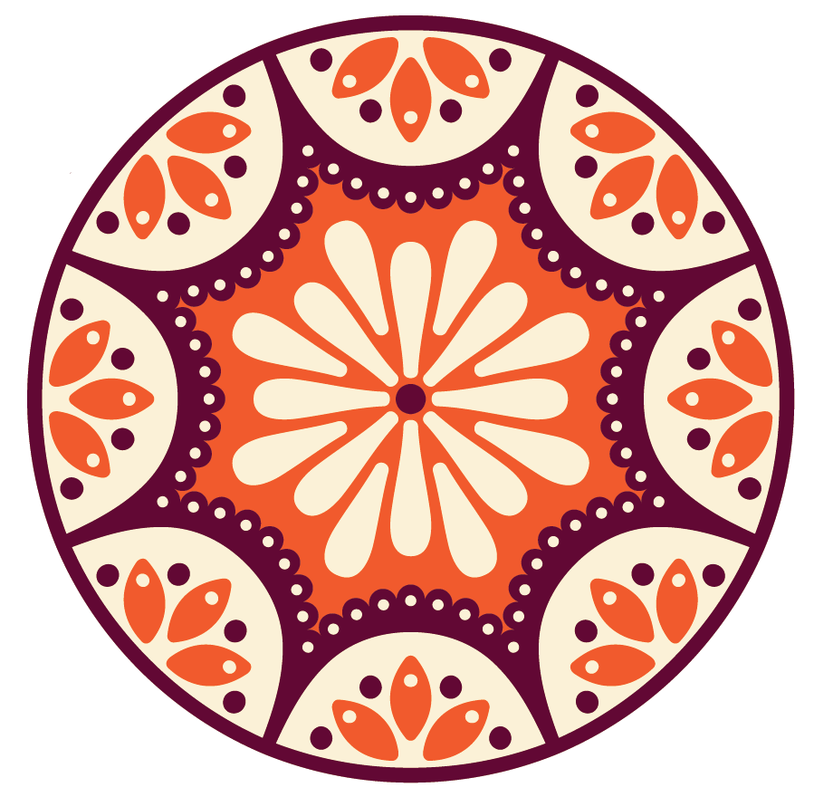 A circular sticker with designs