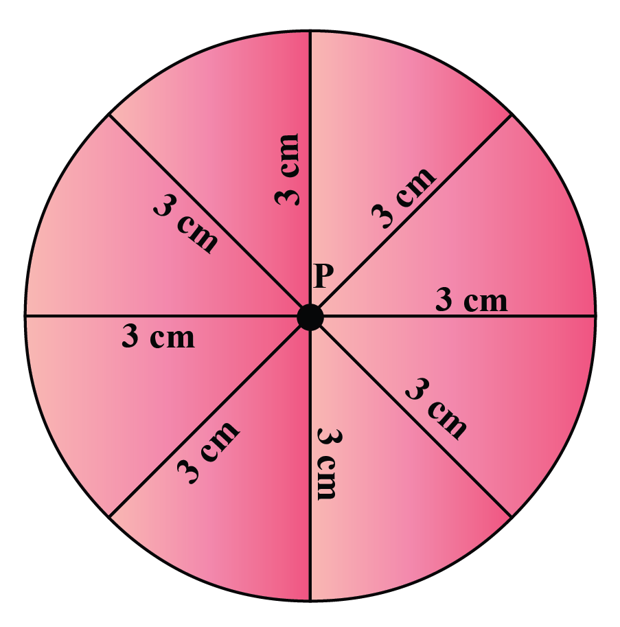 Circle with multiple radii of length 3 cm