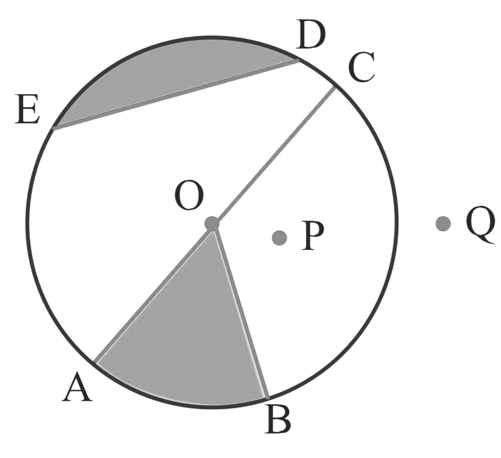 From the figure, identify: (a) the centre of a circle (b) three radii (c) a diameter (d) a chord (e) two points in the interior (f) a point in the exterior (g) a sector (h) a segment