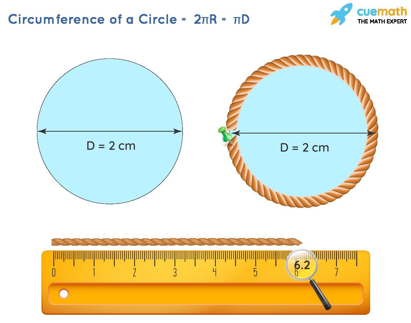Area of circle - Visualization of circumference of a circle