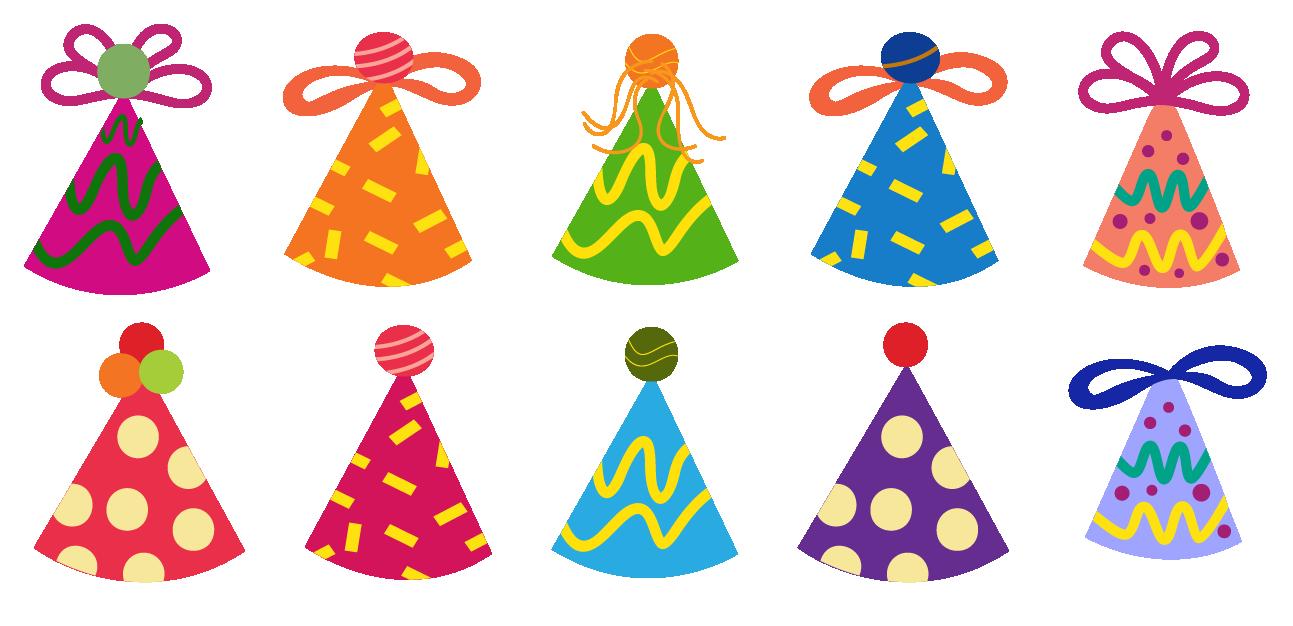 Ten Birthday hats in the shape of cones