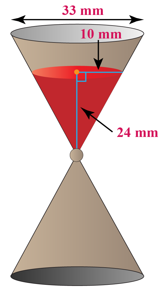 hour glass with two identical cones joined at the apex. Upper cone is filled with sand.
